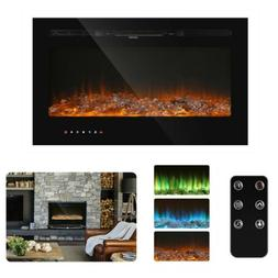"""36"""" Insert Electric Fireplace Heater Wall Mounted with Remot"""