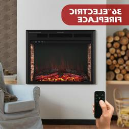 """36"""" Insert Electric Fireplace Heater Wall Mounted w/ Remote"""