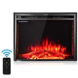 "Tangkula Electric Fireplace Insert 36""Smokeless Modern Ele"