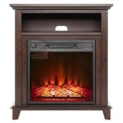 "AKDY 27"" Electric Fireplace Freestanding Brown Wooden Mantel"