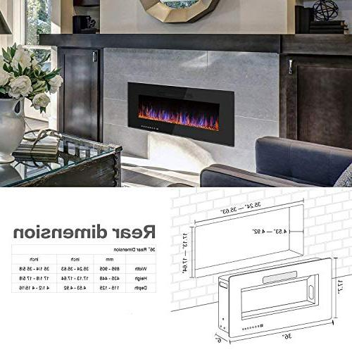 """R.W.FLAME 36"""" Electric Fireplace, Recessed Wall and Control Screen, Colors and"""