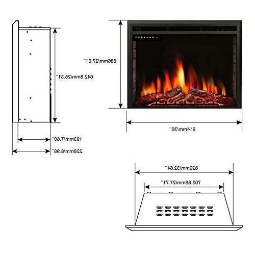 """R.W.FLAME 36"""" Insert,Freestanding Stove Heater,Touch Screen,Remote Control,750W-1500W with Timer & Flame Option"""