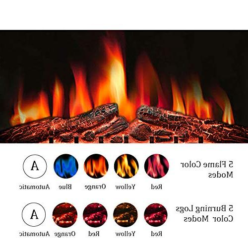 R.W.FLAME Insert,Freestanding Stove Heater,Touch with Timer Colorful Flame