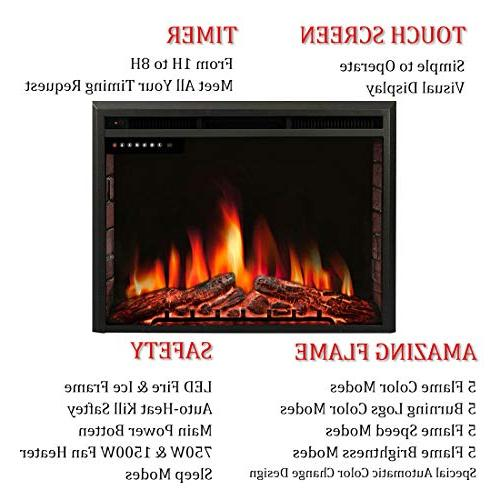 """R.W.FLAME 36"""" Fireplace Insert,Freestanding Recessed Stove Heater,Touch Screen,Remote Flame"""