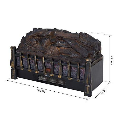 HOMCOM 750W/1500W Electric Log Heater with Realistic Bed -