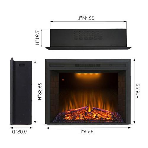 """Valuxhome Houselux 36"""" Embedded Electric Heater, Fire Crackler"""