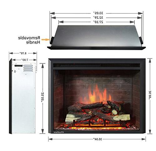 "PuraFlame 33"" Western Electric Fireplace Insert with Control, 750/1500W,"