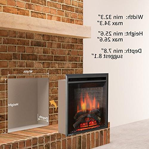 PuraFlame Western Electric Fireplace Insert with Control, 750/1500W,