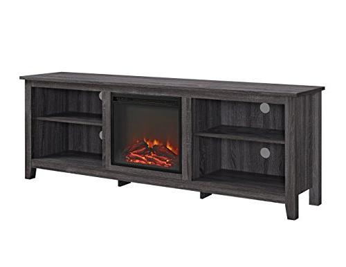 """WE Furniture 70"""" Wood Media TV with - Charcoal"""